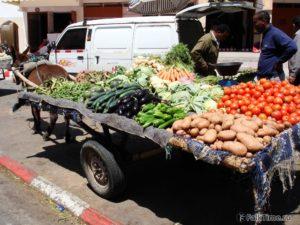 Ослик, впряжённый в повозку с овощами