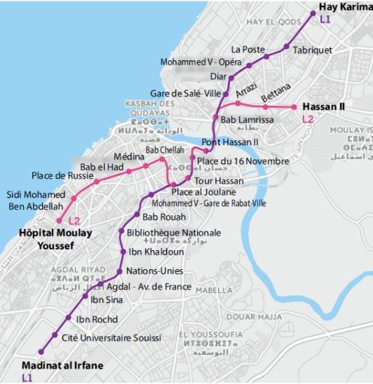 Движение трамваев в Сале и Рабате