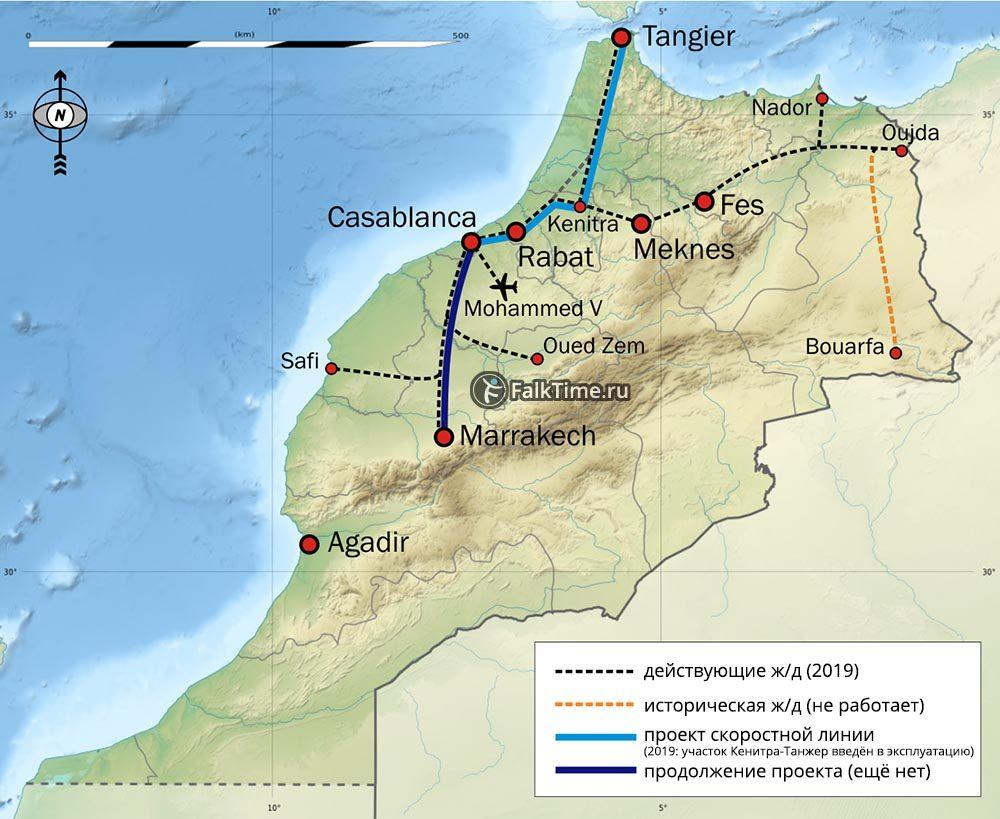 Карта-схема железных дорог Марокко